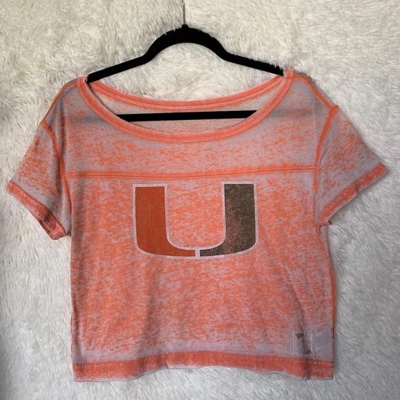 Distant Replay Tops - University of Miami Orange Crop Top Size Small
